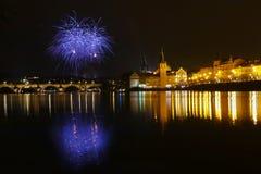 Año Nuevo de los fuegos artificiales Foto de archivo libre de regalías
