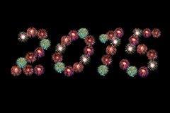 Año Nuevo 2015 de los fuegos artificiales Foto de archivo libre de regalías