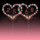 Año Nuevo 2558 de los fuegos artificiales del corazón Foto de archivo