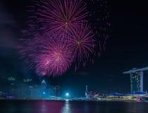 Año Nuevo de Marina Bay /Lunar de los fuegos artificiales/Año Nuevo Imagenes de archivo