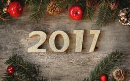 Año Nuevo 2017 de oro Imágenes de archivo libres de regalías