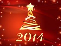 Año Nuevo de oro 2014 y árbol de navidad con las estrellas Foto de archivo libre de regalías