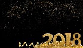 Año Nuevo de oro y mágico Imagen de archivo libre de regalías