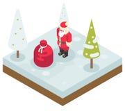 Año Nuevo de Santa Claus Grandfather Frost Bag Gifts Foto de archivo libre de regalías