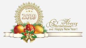 Año Nuevo 2019 Decoraciones de la Navidad libre illustration