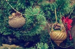 Año Nuevo, decoraciones de la Navidad, vintage Fotografía de archivo