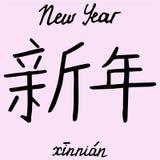 Año Nuevo del carácter chino con la traducción en inglés Fotos de archivo