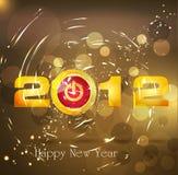 Año Nuevo del fondo abstracto, con un botón Imagenes de archivo