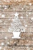 Año Nuevo del fondo de madera de la decoración del árbol de navidad Imagenes de archivo
