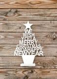 Año Nuevo del fondo de madera de la decoración de la Navidad Fotografía de archivo