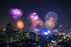 Año Nuevo del fuego artificial en Bangkok Fotos de archivo libres de regalías