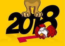 Año Nuevo del gallo 2018 cómicos del perro de la historieta Imagenes de archivo