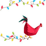Año Nuevo 2017 del gallo celebrador de la postal Imagen de archivo