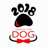 Año Nuevo del logotipo 2018 del perro para el diseño Fotografía de archivo libre de regalías
