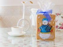 Año Nuevo del muñeco de nieve del pan de jengibre Foto de archivo