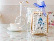 Año Nuevo del muñeco de nieve del pan de jengibre Imágenes de archivo libres de regalías