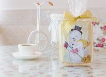 Año Nuevo del muñeco de nieve del pan de jengibre Fotografía de archivo