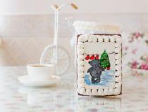 Año Nuevo del oso del pan de jengibre Foto de archivo libre de regalías