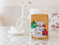 Año Nuevo del oso del pan de jengibre Imagen de archivo libre de regalías