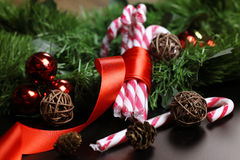 Año Nuevo del palillo del bastón de caramelo Fotografía de archivo