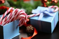 Año Nuevo del palillo del bastón de caramelo Foto de archivo libre de regalías