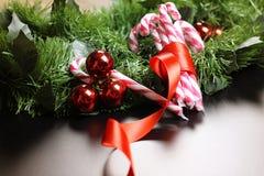Año Nuevo del palillo del bastón de caramelo Imagen de archivo libre de regalías