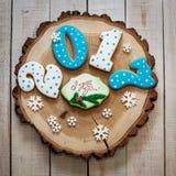 Año Nuevo 2017 del pan de jengibre Imagenes de archivo