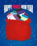 Año Nuevo del poder feliz Proteína en el saco rojo de Santa Claus Vagos grandes Foto de archivo libre de regalías