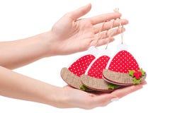 Año Nuevo del sombrero de santa del juguete de la Navidad de la decoración de la Navidad Imágenes de archivo libres de regalías