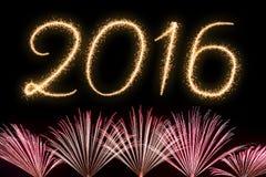 Año Nuevo 2016 del texto de los fuegos artificiales Foto de archivo libre de regalías