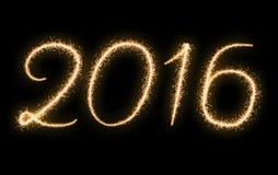 Año Nuevo 2016 del texto de los fuegos artificiales Fotografía de archivo