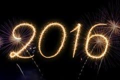 Año Nuevo 2016 del texto de los fuegos artificiales Fotografía de archivo libre de regalías