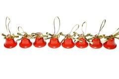 Año Nuevo del tintineo rojo de la decoración de las campanas de la Navidad de Navidad Imágenes de archivo libres de regalías