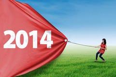 Año Nuevo del tirón de la mujer de 2014 en el prado Fotografía de archivo libre de regalías