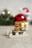 Año Nuevo del trineo del juguete Foto de archivo libre de regalías
