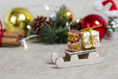 Año Nuevo del trineo del juguete Imagen de archivo