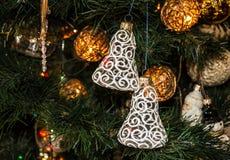Año Nuevo, detalles del árbol de navidad del vintage Imagen de archivo libre de regalías