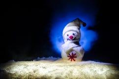 Año Nuevo El muñeco de nieve descarga los regalos por el Año Nuevo Muñeco de nieve blanco rodeado por los árboles de navidad en f Fotos de archivo libres de regalías