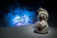 Año Nuevo El muñeco de nieve descarga los regalos por el Año Nuevo Muñeco de nieve blanco rodeado por los árboles de navidad en f Imagenes de archivo
