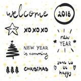 Año Nuevo 2018 el poner letras y de la colección decorativa de los elementos El ejemplo del vector fijó para las tarjetas de feli Foto de archivo
