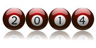Año Nuevo 2014 en bolas de piscina rojas Imágenes de archivo libres de regalías