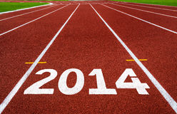 Año Nuevo 2014 en concepto corriente de la pista. Imagen de archivo libre de regalías