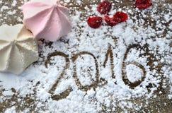Año Nuevo 2016 en el azúcar Imagen de archivo libre de regalías