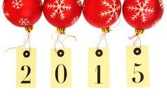 Año Nuevo 2015 en el colgante de las etiquetas Imágenes de archivo libres de regalías