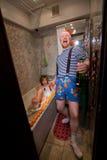 Año Nuevo en el cuarto de baño Foto de archivo libre de regalías