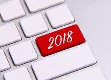 Año Nuevo 2018 en el teclado Foto de archivo libre de regalías