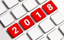 Año Nuevo 2018 en el teclado Imagen de archivo libre de regalías