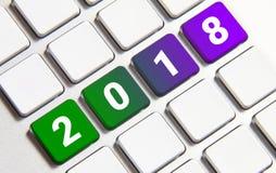 Año Nuevo 2018 en el teclado Fotografía de archivo