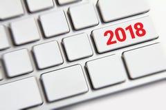 Año Nuevo 2018 en el teclado Imagenes de archivo