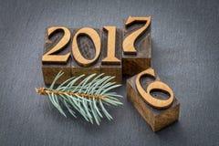 Año Nuevo 2017 en el tipo de madera Fotografía de archivo